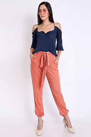 Navy Blue Cold Shoulder Top by 3X9T