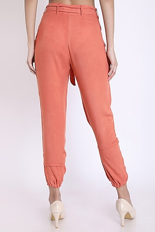 Peach Pants With Tie-Up Belt by 3X9T