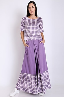Purple Organically Dyed & Printed Pants by 3X9T