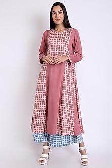 Pink Checkered Printed Anarkali Kurta by 3X9T