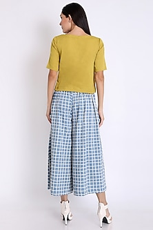 Blue Printed Pants With Pockets by 3X9T