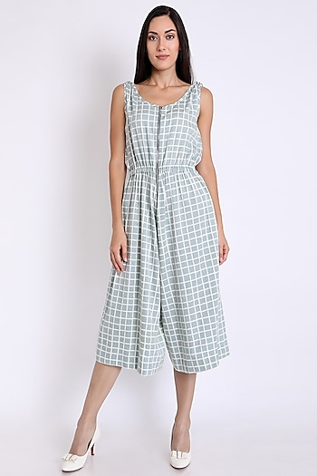 Grey Printed Playsuit With Pockets by 3X9T
