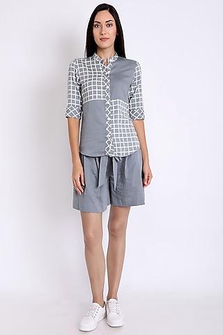 Grey Printed Shirt With Mandarin Collar by 3X9T