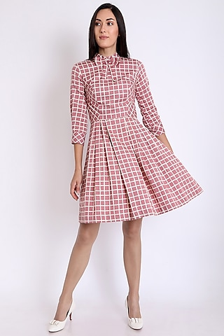 Pink Printed Dress With Box Pleats by 3X9T