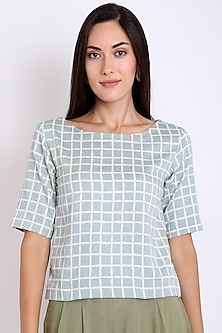 Pastel Green Block Printed Top by 3X9T