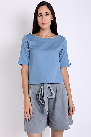 Blue Organically Dyed Top With Short Sleeves by 3X9T