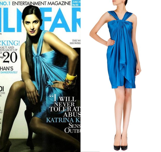 Teal blue knot dress by Shantanu and Nikhil