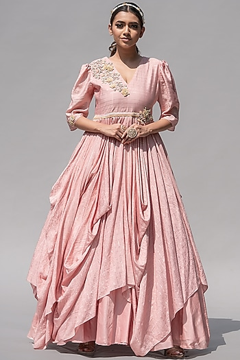 Pink Floral Embellished Gown by Abstract By Megha Jain Madaan