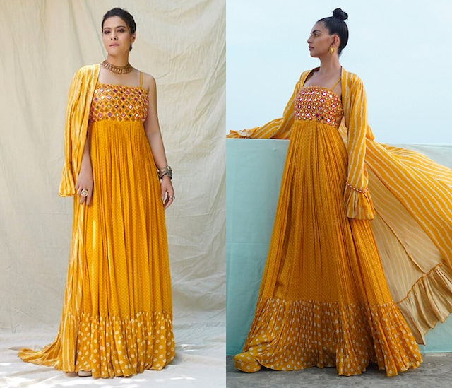 Mustard Yellow Embroidered & Printed Dress With Cape by Punit Balana