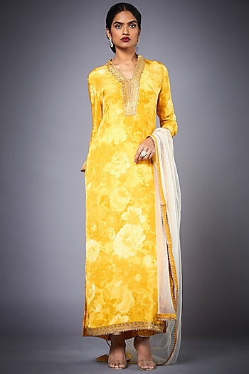Yellow Embroidered Kurta Set by Ri Ritu Kumar