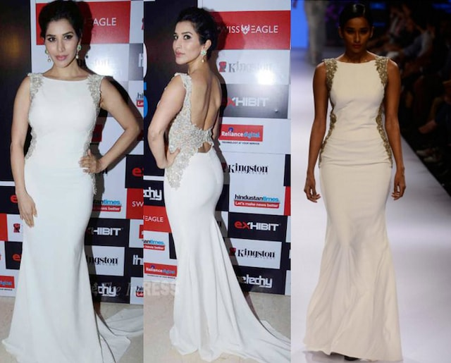 White cutwork embroidered gown by Sonaakshi Raaj