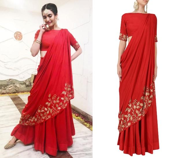 Red Embroidered Drape Lehenga Set by Prathyusha Garimella