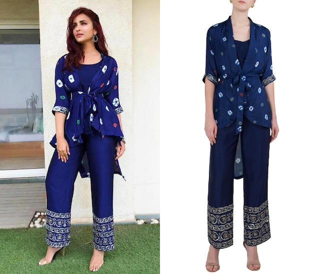 Prussian Blue Embroidered Jacket with Crop Top and Pants by Koashee By Shubhitaa