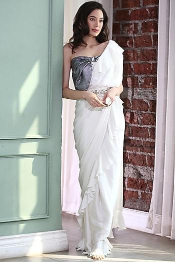 White & Silver Embellished Pre-Stitched Saree Set by Gunu Sahni