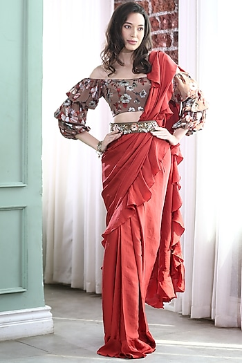 Red & Brown Embroidered Pre-Stitched Saree Set by Gunu Sahni