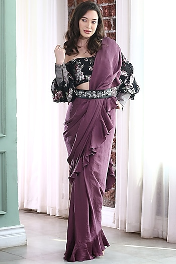 Mauve & Black Embroidered Pre-Stitched Saree Set by Gunu Sahni