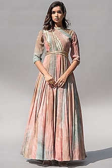 Peach Ombre Embellished Dress by Abstract By Megha Jain Madaan-ABSTRACT BY MEGHA JAIN MADAAN