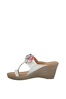 Silver Floral Kolhapuri Wedges by 5 Elements