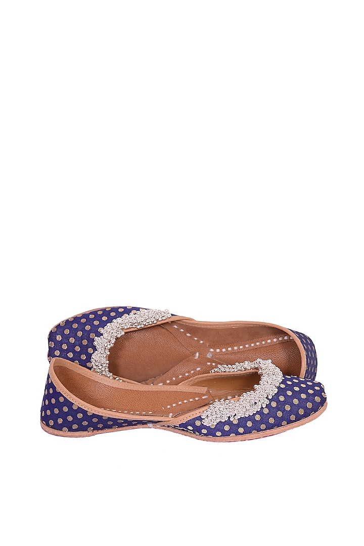 Navy Blue Floral Embroidered Juttis by 5 Elements