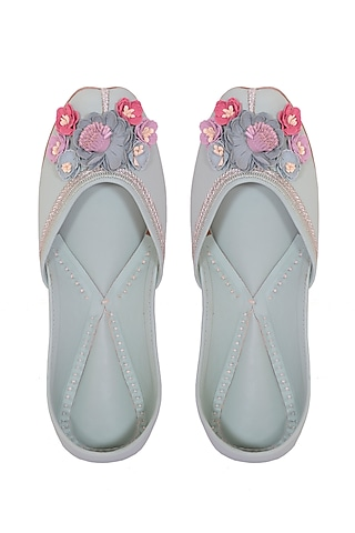 Mint Floral Embroidered Juttis by 5 Elements