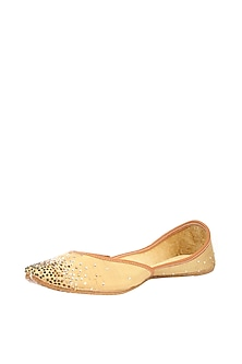 Gold Stone Embroidered Juttis by 5 Elements