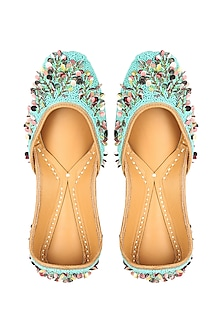 Turquoise Cutdana Embroidered Juttis by 5 Elements