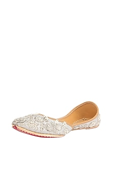 Silver Bead Embroidered Juttis by 5 Elements