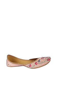 Peach Embroidered Leather Juttis by 5 Elements