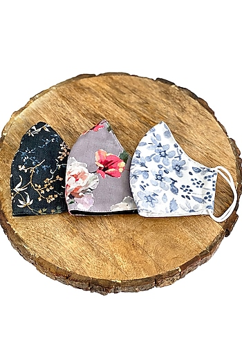 Multi Colored Floral Printed Masks (Set Of 3) by 5 Elements