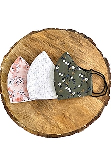 Multi Colored Printed Reusable Masks (Set Of 3) by 5 Elements