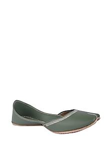 Green Faux Leather Juttis by 5 Elements