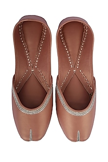 Metallic Dull Pink Faux Leather Juttis by 5 Elements