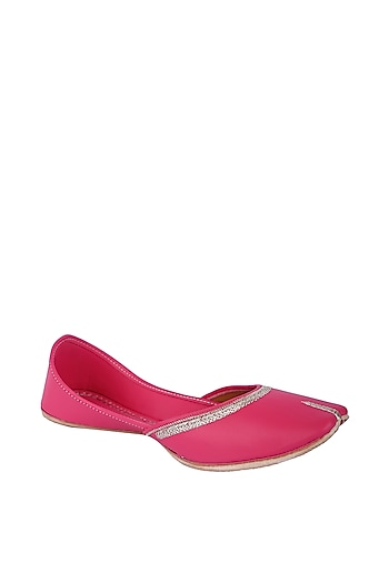 Pink Faux Leather Juttis by 5 Elements