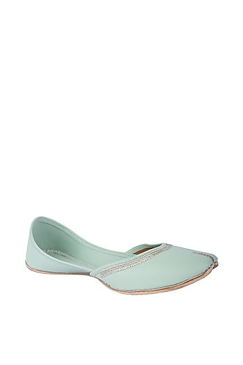 Mint Green Faux Leather Juttis by 5 Elements