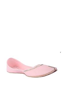 Blush Pink Faux Leather Juttis by 5 Elements