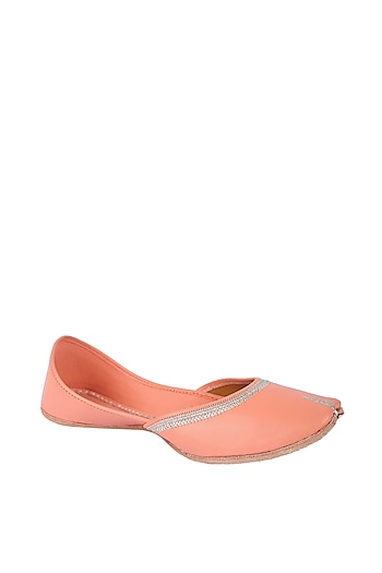 Peach Faux Leather Juttis by 5 Elements