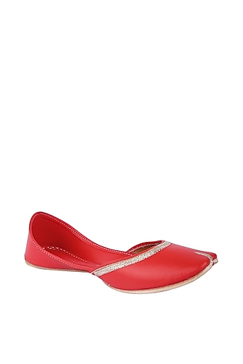 Red Faux Leather Juttis by 5 Elements