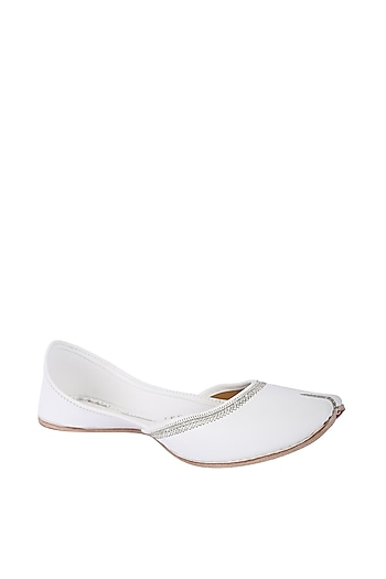 White Faux Leather Juttis by 5 Elements
