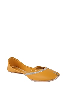 Mustard Faux Leather Juttis by 5 Elements