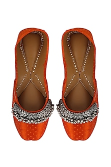 Orange Leather Juttis With Ghungroos by 5 Elements