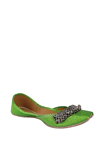 Green Leather Juttis With Ghungroos by 5 Elements