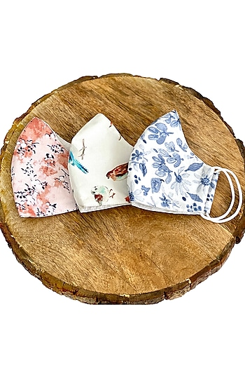 Multi Colored Printed Cotton Double Layered Masks (Set Of 3) by 5 Elements