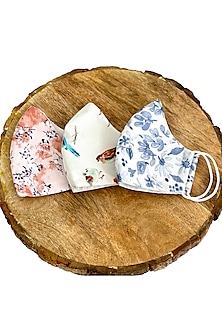Multi Colored Floral Printed Cotton Layered Masks (Set Of 3) by 5 Elements