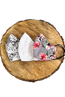 Multi Colored Printed Reusable & Layered Masks With Elastics (Set Of 3) by 5 Elements