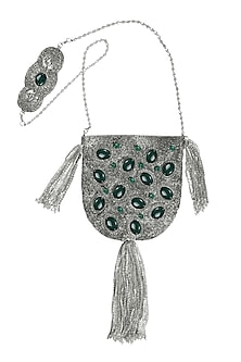 Silver Embellished Handcrafted Potli by 5 Elements