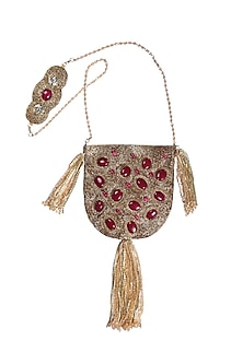 Gold Embellished Handcrafted Potli by 5 Elements