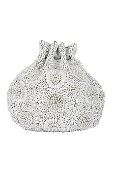 White Handcrafted Embellished Potli by 5 Elements