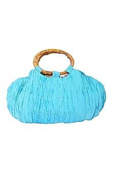 Sky Blue Potli With Wooden Handle by 5 Elements