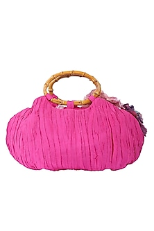 Pink Potli With Wooden Handle by 5 Elements