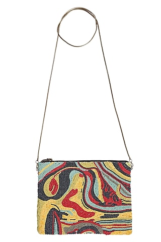 Multi Colored Handcrafted Zipper Bag by 5 Elements